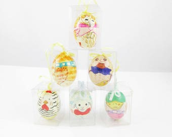 Six Easter Eggs in Cellophane Boxes - Hang Them With Ribbons - Mallard Duck - Lamb - Bunny - Cat