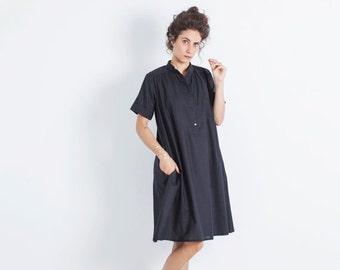 SALE - Plus Size Clothing, Tunic Coverup, Black Tunic Shirt, Cotton Tunic, Boho Chic Shirt, High Fashion Tunic, Designer Dress, Loose Dress