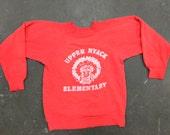 Vintage red Upper Nyack Elementary Native American Print Sweat Shirt: C058