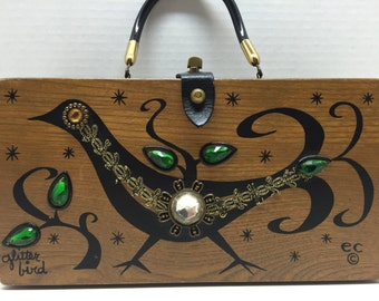 """Free Ship! RARE 1967 """"Glitter Bird"""" by Enid Collins *Only One Online!* Signed Box Purse"""