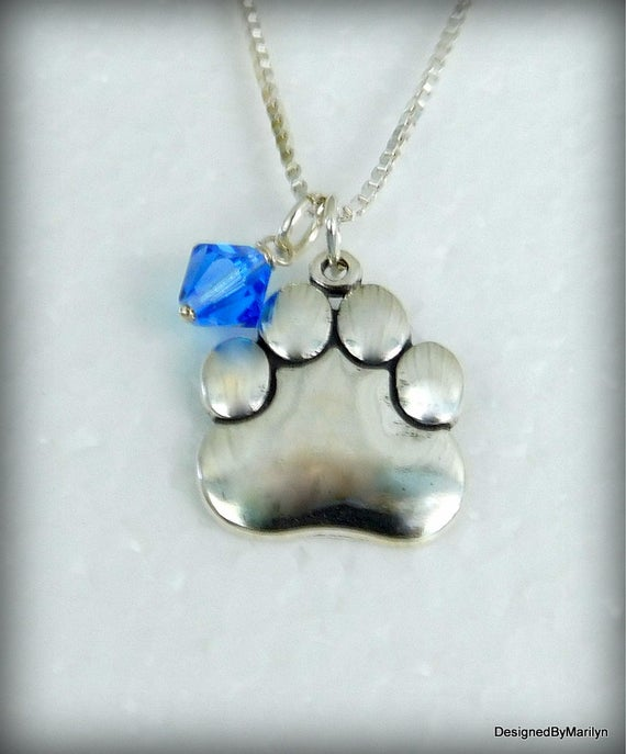 Sterling silver dog lovers necklace, dog paw print  necklace, birthstone jewelry, fat cat paw print