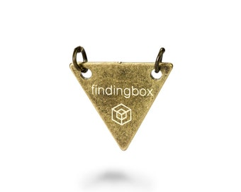 Antique Bronze Triangle Jewelry Tag with 2 Holes, Laser Engraved Logo on Triangle Sequins,15x15mm,19 Gauge, Pkg of 100 PCS, F14O.AN09.P100.C