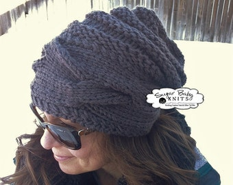 Cabled Band  Slouchy Beanie -Chunky, Slouchy,  Slouchy Hat, Hand Knit, Baggy, Oversized, Chunky Beanie, Cabled, Hand Knit,Grey,Ready To Ship