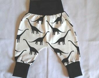 Dinosaur pants, Toddler harem pants, Black and white baby boy sarouel pants