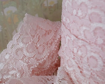 3yds Elastic Lace Stretch Ribbon Elastic Trim Light Pink lace 1 1/4 inch Floral Baby Headbands, lingerie Edging