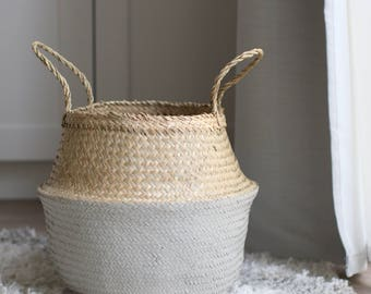 Dipped Seagrass Belly Basket, Various Sizes - Nursery Organization, Nursery Decor, Vietnamese, Seagrass