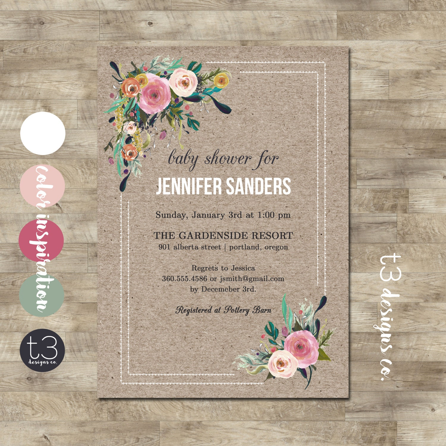 Shabby Chic Corner Bouquet Baby Shower Invitation Girl Baby