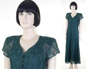 Vintage 1980s Green Lace Dress - All That Jazz - Size 9/10 - Lace Up Back - Satin Under Slip - Prom Dress - Party Dress