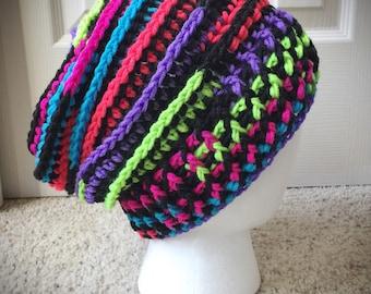 Neon Rainbow Slouchy women's men's Hat