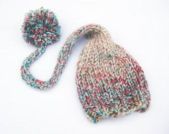 Tweed Gradient Elf Baby Photo Prop / Size 0-12 months / Newborn Photography Prop Girl Handknit Hat