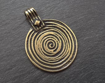 Round Spiral Disc Pendant -  Antique Bronze Plated
