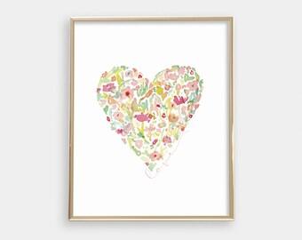 INSTANT DOWNLOAD Printable digital art - Watercolor floral heart - Love - Nursery art print - Peach, Pink, Green, Yellow - SKU:6755