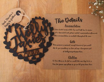 X50 wedding Invitation Invite Laser Cut Heart Handwritten