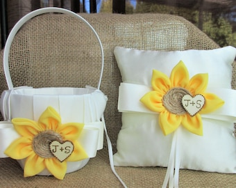 Ivory Country Chic Sunflower Wedding Ring Pillow & Basket,Rustic Country Chic Wedding Decor, Sunflower 8 x 8 inch Ring Bearer Pillow