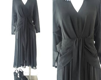 80s Clothing 80s PROM DRESS 80's Dress 80s 80s Dress 80s Party WRAP Dress Black Dress Long Sleeve Maxi Dress Long Sleeve Dress Asymmetrical