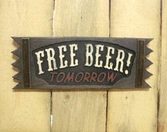 FREE BEER sign rustic free beer sign