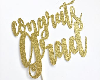 Congrats Grad cake topper High School College Graduation Grad Party Cake Decoration