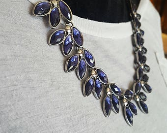 Statement Necklace Crystal Statement Necklace Blue Purple Crystal Bib Necklace Weddings BRIDESMAIDS Necklace chunky necklace Prom Necklace