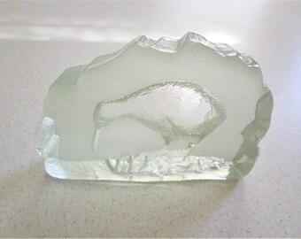Arctic Bird Heavy Clear Glass Paper Weight Bird Lover Bookshelf Accent