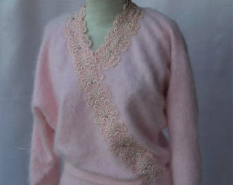 Sexy Spring Sale 25% off Gorgeous 70's Pale Pink Dolman Batwing Sleeve Angora Sweater with Lace Beading by Christine Phillipe California