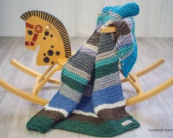 Knitted multicolor baby blanket, handmade baby blanket