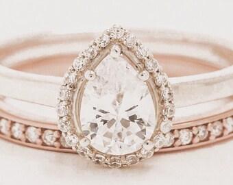 DIAMOND engagement ring // pear halo engagement ring // custom engagement ring // halo engagement ring // round halo engagement ring //