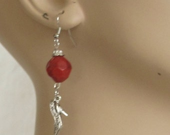 Earrings, shoes, charms, silver, red bead, dangles, F, jewelry