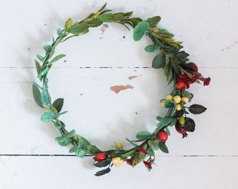Beautifully Detailed Berry and Deep Bloom Holiday Crown