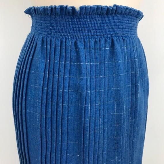 Vintage pleated skirt wool blue silver fleck straight micro pleated high waist elasticated UK 10 12 US 6 10 1970s 1980s