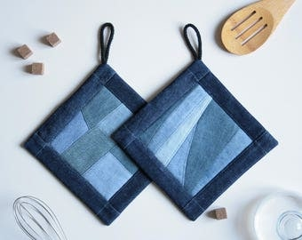 Quilted Potholders - Potholder Set of 2 - Quilted Denim Potholders - Cooking Gift - Foodie Gift - Chefs Tool - New House Gift Idea