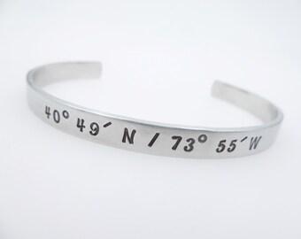 Custom Coordinate Jewelry - Travel Jewelry - Latitude Longitude - Personalized Coordinate Cuff Bracelet  Handstamped anniversary gift couple