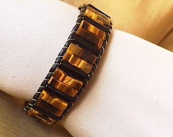Golden Tiger's-Eye and Black Onyx Bracelet
