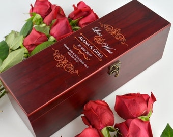 1x Printed Wooden Wedding Stained Wine Box Set