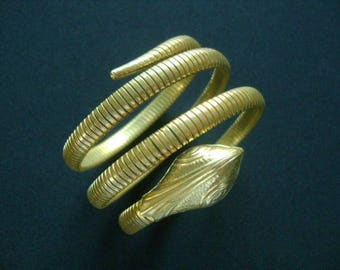 Exotic Antique Vintage Circa 50's Gold Brass Wrap Serpent Coiled Coil Snake Head Tail Expandable Bracelet or Armband Cuff Collectible Piece