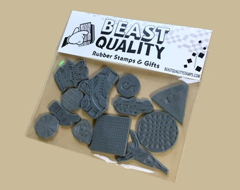 Dozen Unmounted Rubber Stamp Die Fun Pack (12 Unique & Random Designs)