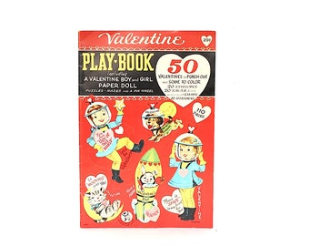 Vintage Valentines Day Cards - Space Valentines Cards - Fuld Valentine Card & Paper Doll Book - Punch Out Valentines -1960s Valentines Cards