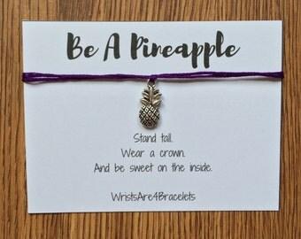 Custom Silver Pineapple Charm Wish Bracelet
