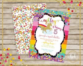 Unicorn, Rainbow Unicorn Invitations, Unicorn Invitations, Rainbows  - YOU PRINT