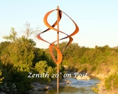 """70"""" Kinetic Wind Sculpture   Copper Garden Wind Art with Golden Brown Copper Patina   Garden Stake or Patio Stand   Handmade in USA"""