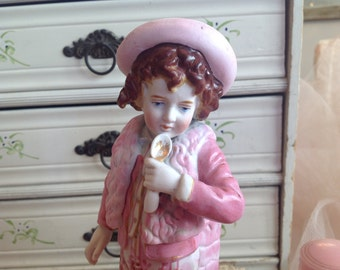 Absolutely adorable antique shabby cottage pink dressed little boy with hat