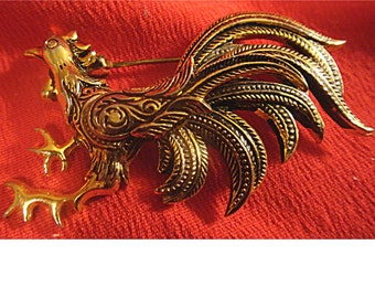 Lovely Vintage DAMASCENE ROOSTER Pin Brooch From Spain (1330)