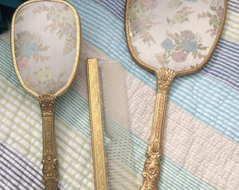 Hollywood Regency Vanity Dresser Set Mirror Brush Comb