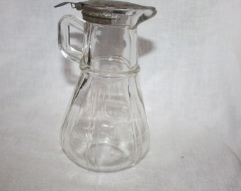 Vintage 1915 1916 Hazel Atlas Glass Syrup or Creamer Dispenser Rounded Bottom