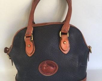 Vintage Navy Leather Dooney and Bourke Handbag