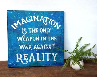 Alice in Wonderland Quote Painting - classroom decor-Imagination quote on canvas - Galaxy painting- Alice in Wonderland Decor - Cheshire cat