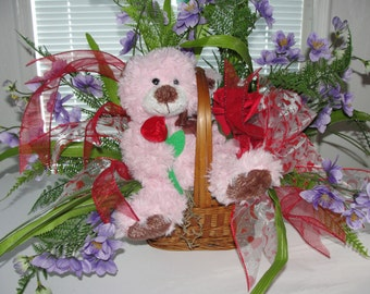 Valentines Day Bear Silk Flower Arrangement Red Rose Lavender Mini Blossoms Wicker Basket I Love You Card  / Cemetery Flowers Galaore