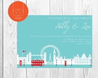 London Themed Wedding Invitation