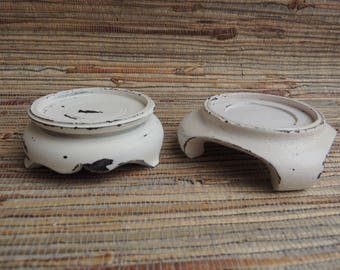 Pair Of Chippy White Painted Asian Carved Wooden Stands