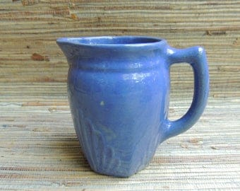 Blue McCoy Style Pottery Milk Pitcher Vintage Ceramics