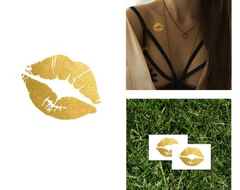 Kiss Metallic Gold and Black Temporary Tattoo   Valentine's Day Gift For Her Love   Flash Tattoo